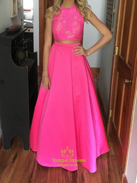 Hot Pink Two Piece Lace Embellished Top Floor Length Prom Dress