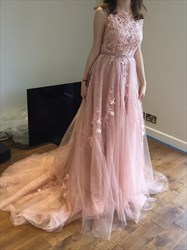 Blush Pink Long Backless Sleeveless Lace Embellished Formal Dress