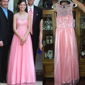 Pink Sheer Beaded Bodice Chiffon Floor Length Bridesmaid Gown