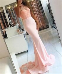 Pink Embellished Halter High Neck Mermaid Long Chiffon Prom Dress