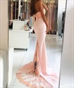 Pink Embellished Halter High Neck Mermaid Long Chiffon Prom Dress