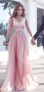 Pink V Neck Long Sleeveless Lace Embellished Top Evening Dress