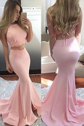 Pink Two Piece Open Back Floor Length Mermaid Prom Dress
