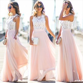 Pink Lace Bodice Chiffon Skirt A Line Long Bridesmaid Dress