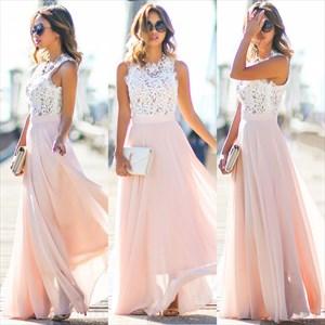 Pink Lace Bodice Chiffon Skirt A Line Long Bridesmaid Dress