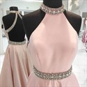 Pink Halter High Neck Beaded Open Back Floor Length Prom Dress