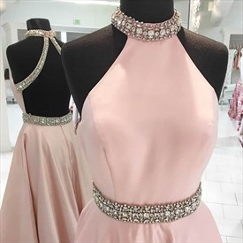 Pink Halter High Neck Beaded Open Back Floor Length Prom Dress