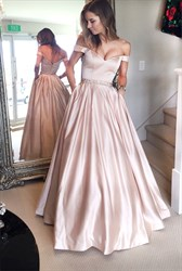 Pink Off The Shoulder Formal Long Ball Gown Dresses With Pockets
