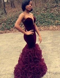 Burgundy Strapless Sweetheart Sleeveless Mermaid Prom Dress