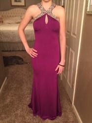 Violet Jewel Embellished Backless Long Floor Length Prom Dress