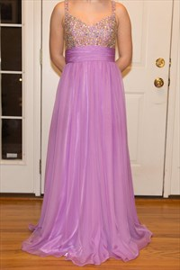 Lilac A Line Long Chiffon Prom Dress With Beaded Bodice And Straps