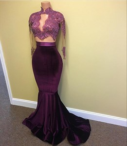 Grape High Neck Embellished Top Sheer Long Sleeve Mermaid Formal Dress
