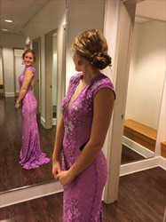Lilac Cap Sleeve Open Back Sheer Neckline Lace Floor-Length Prom Dress