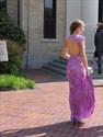 Lilac Cap Sleeve Open Back Sheer Neckline Lace Floor-Length Prom Dress