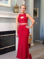 Red Two Piece Backless Lace Applique Floor Length Prom Dress
