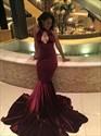 Burgundy Elegant Floor Length Mermaid Prom Dress With Keyhole Front