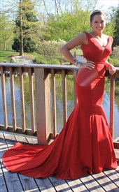 Red V Neck Mermaid Backless Floor Length Prom Dresses With Train