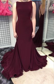 Burgundy Open Back Floor Length Mermaid Sleeveless Formal Dress