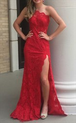 Red One Shoulder Lace Floor Length Prom Dress With Side Cutouts