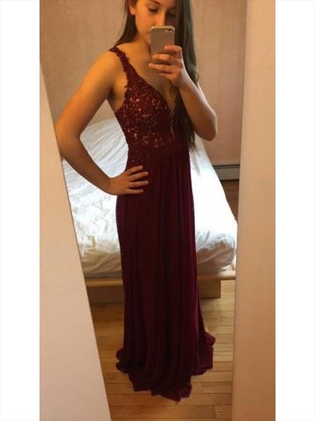 Burgundy V Neck Lace Bodice Chiffon Bottom Long Bridesmaid Dress
