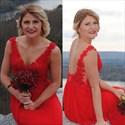 Red Lace Bodice Chiffon Bottom Open Back Floor Length Bridesmaid Dress