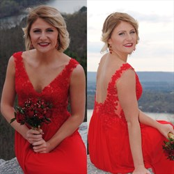 Red Lace Bodice Chiffon Bottom Open Back Floor Length Bridesmaid Dress