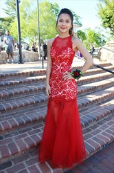 Red Floor Length Lace Embellished Bodice Mermaid Formal Dress