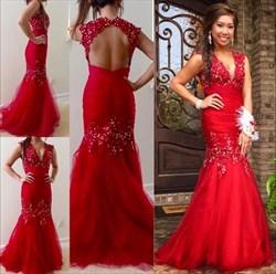 Red Beaded V-Neck Cap Sleeve Open Back Illusion Mermaid Prom Dress