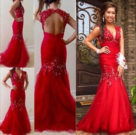 Red Beaded V-Neck Cap Sleeve Open Back Illusion Mermaid Prom Dress
