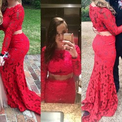 Red Two Piece Long Sleeve Lace Mermaid Floor Length Prom Dress