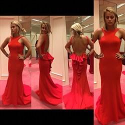 Red Sleeveless Floor Length Open Back Formal Evening Gown