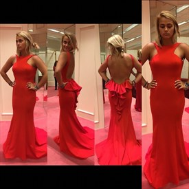 Red Sleeveless Floor Length Open Back Formal Evening Gown