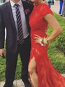 Red Cap Sleeve Open Back Long Lace Prom Dress With Side Cutouts