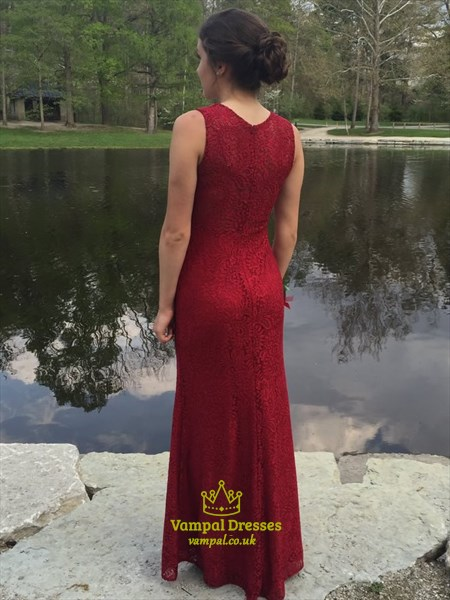 Burgundy Beaded Lace Embellished Floor Length Formal Dress