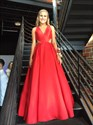 Red V Neck Open Back Floor Length Evening Ball Gown Prom Dress