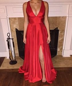 Red V Neck Open Back Floor Length Sleeveless Formal Dress With Slits