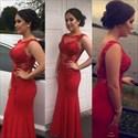 Red Lace Applique Open Back Embellished Sheath Formal Dress