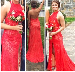 Red Halter Neck Backless Lace Long Prom Dress With Side Cutouts