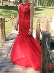 Red Open Back Embellished Lace Bodice Tulle Mermaid Prom Gown