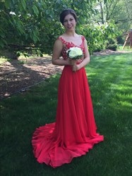 Red Backless Chiffon Long Bridesmaid Dress With Lace Bodice