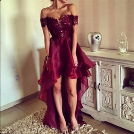 Burgundy Backless Embellished Off The Shoulder High Low Prom Dress