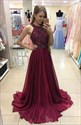 Burgundy Halter Neck Beaded A Line Floor Length Prom Dress