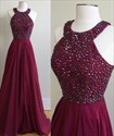 Burgundy Halter Neck Beaded A Line Floor Length Prom Dress