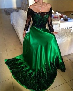 Emerald Green Off The Shoulder Lace Long Sleeve Evening Dress