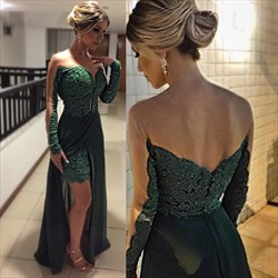 Emerald Green Sheer Long Sleeve Lace Prom Dress With Chiffon Overlay