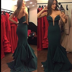 Emerald Green Sweetheart Floor Length Trumpet Mermaid Evening Dress