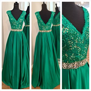 Emerald Green Lace Bodice Cap Sleeve Backless Floor Length Formal Gown