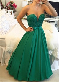Emerald Green Strapless Sleeveless Long Bead Embellished Prom Dress