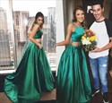 Emerald Green Two Piece Spaghetti Strap Floor Length Prom Dress