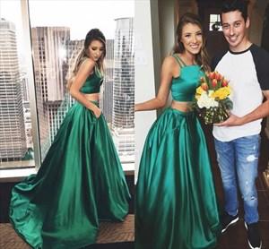 Emerald Green Two Piece Spaghetti Strap Floor Length Prom Dress